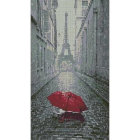 Torre Eiffel y el paraguas rojo