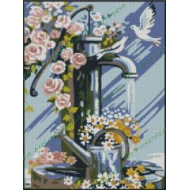 Fuente con flores y palomas