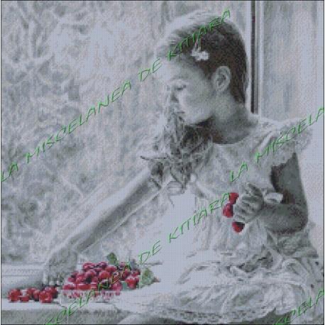 Niña con cerezas