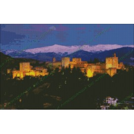 Alhambra with Sierra Nevada at dusk