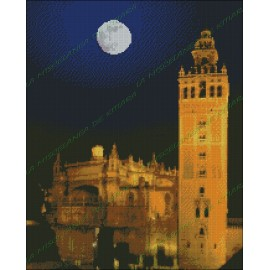 La Giralda with moon