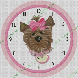 Pink Ribbon Dog Clock