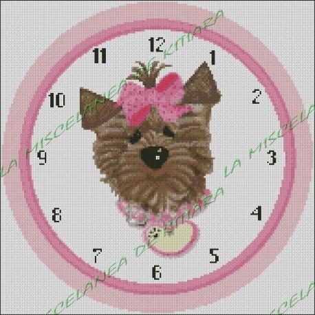 Pink Ribbon Dog Clock