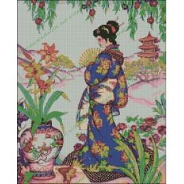 Mujer Japonesa en Jardín Asiático