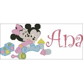 Nombre Mickey y Minnie Bebes con Juguetes