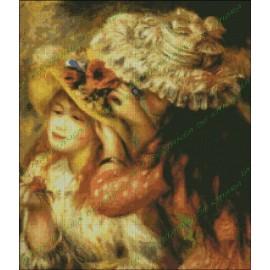 Chicas poniendo flores en sus sombreros - Renoir