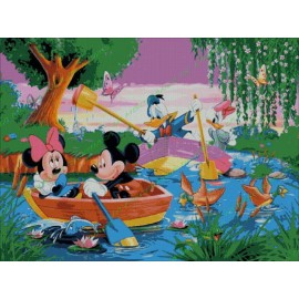 Mickey Mouse and friends at the lake
