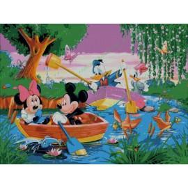 Mickey Mouse y amigos en el lago